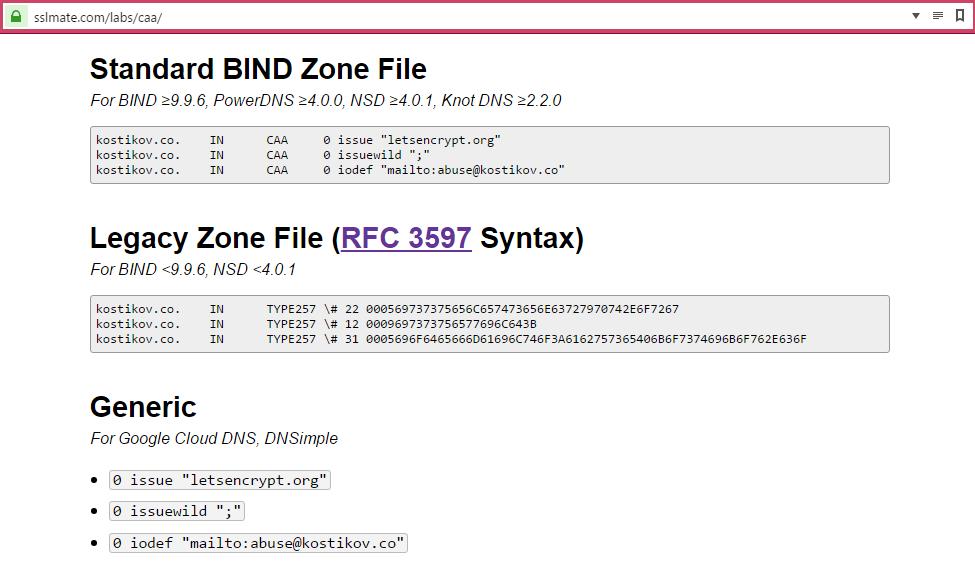 SSLmate CAA DNS record wizard